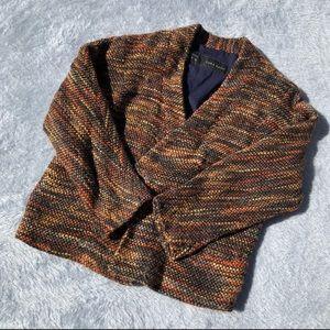 Zara Basic multicolor cotton tweed open blazer